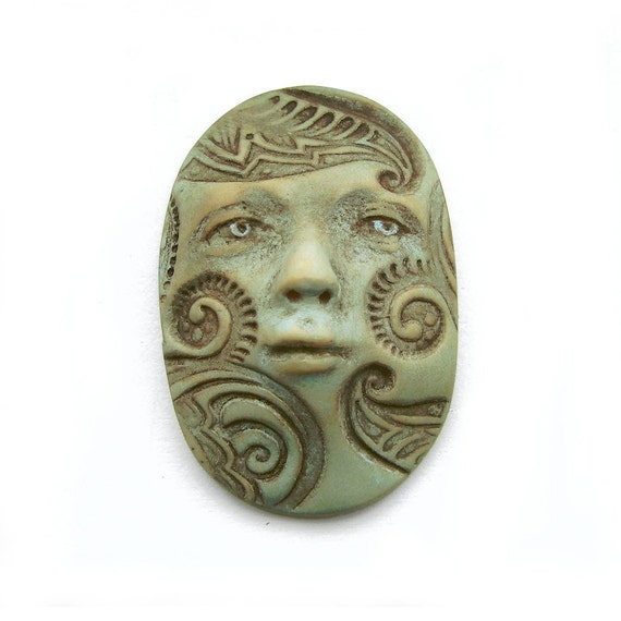 Tribal Designs Oval Pale Turquoise Blue Art Doll Face Cab Swirls Polymer Clay Goddess Cabochon 2588