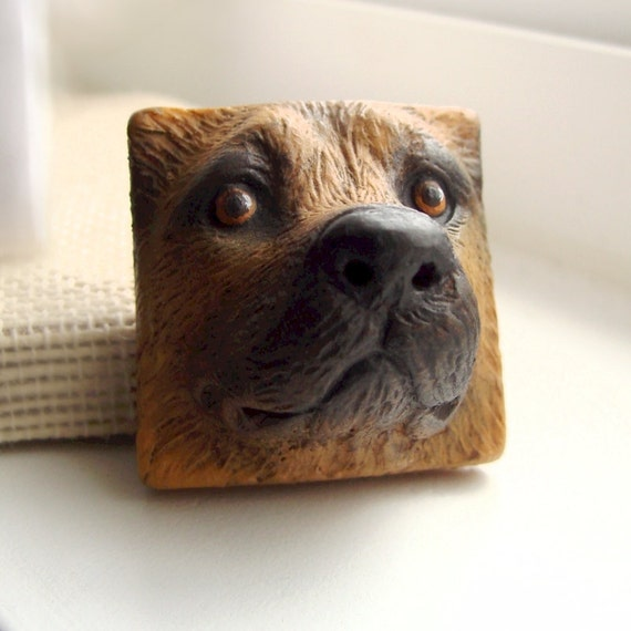 German Shepherd Dog Square Art Doll Face Cab Canine Pet Animal Pooch Cabochon Brown Black 2611 polymer clay