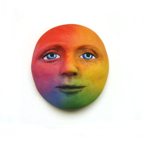 Rainbow Blue Eyes Art Doll Face Cab Bright Colorful Polymer Clay Cabochon Goddess roygbiv Blue Purple Red Orange Yellow Green 2615