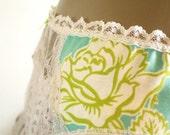 Modern Garter Belt Bright Acid Green Aqua Rose Print Bold Handmade Cotton Suspender Belt Small To Medium