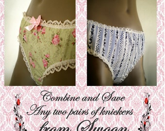Two Pairs Of Panties Combine And Save Swoon Knickers All Cotton Handmade Elegant Sexy Indie Undies