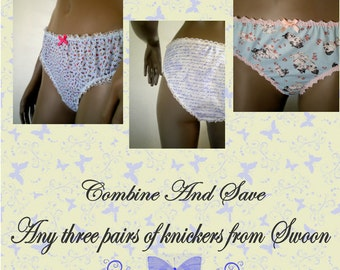 Panties Set Three Pairs Handmade Knickers From Swoon All Cotton Underpants