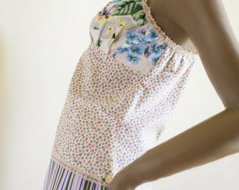 Vintage Style Camisole In 1930s Repro Cotton Flower Print Handmade Romantic Lingerie Or Sleep Top