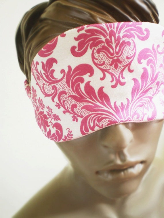 Pink Damask Sleepmask Romantic Elegant All Cotton And Satin Handmade Sleep Mask