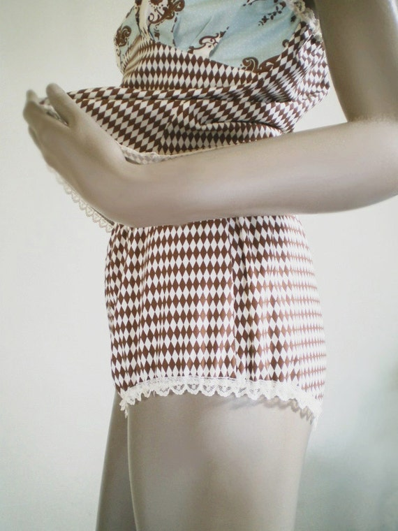 Short Bloomers Retro Style Granny Panties Brown And White Harlequin Diamond Print Cotton MADE TO ORDER