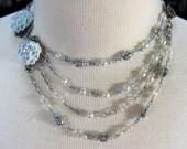 Cream and light blue asymmetrical necklace