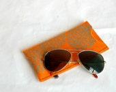 Merino Felted Wool Sunglass/Eyeglass Case-orange wool with Astera print