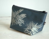 Steel blue cosmetic bag with white Algae print-lined with vinyl