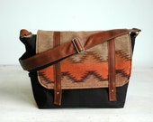 Wool & Canvas Messenger Bag with Brown Leather