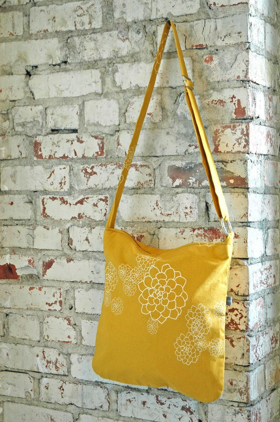 Golden Yellow Casey Bag with creme Rosetta  Print