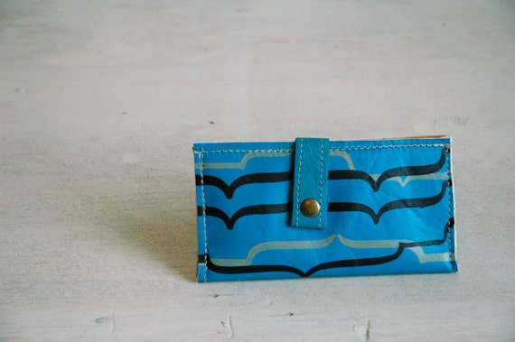 Teal  Leather Wallet with Mesa print