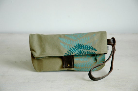 SALE Discontinued Style Khaki Green Foldover Clutch with Fern print