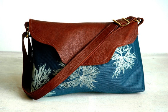 Nina leather flap bag-Steel Blue Algae print