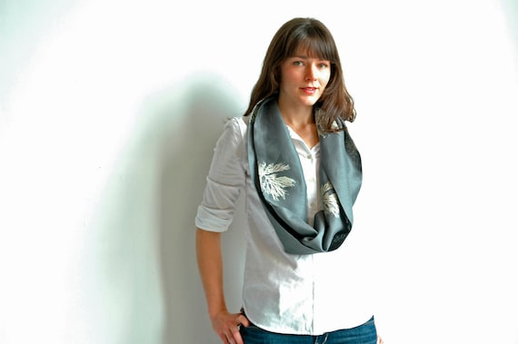 Charcoal Linen Infinity Scarf with Algae Print