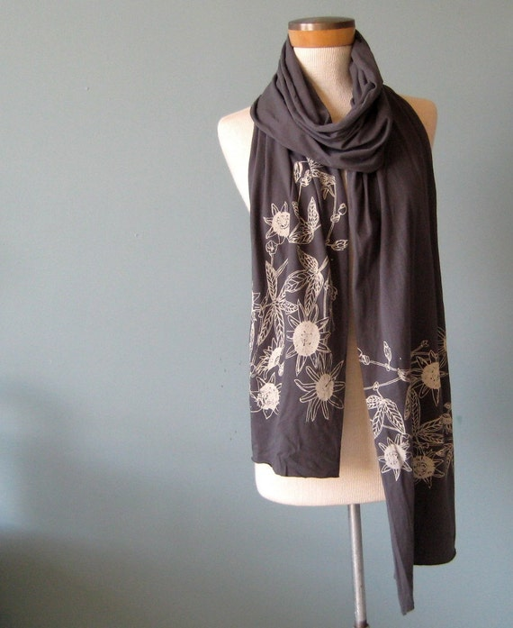 Slate Jersey Scarf with Passion Flower Print