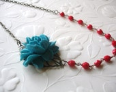 Sale Turquoise Rose Necklace Red Beaded Miranda Necklace