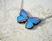 Sale Purple Blue Butterfly Necklace