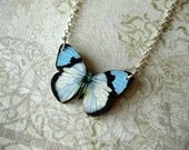 Sale Blue and White Spring Butterfly Necklace