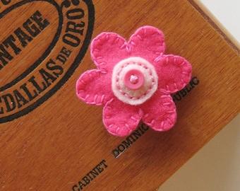 Bright Pink Flower embroidered felt barrette