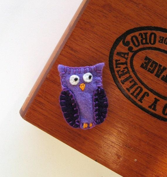Purple Hoot Owl barrette hairclip