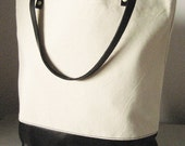 Canvas and Leather Shopper Tote in Cream and Black