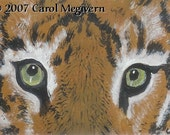 ACEO Big Cat Eyes Tiger Original Art Painting WWAO