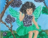 ACEO Blackberry Fairy Original Miniature Art Painting WWAO