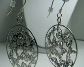 Silver Butterfly Earrings with Sterling Silver Fish Hooks