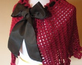 Filet Lace Crochet Raspberry Capelet Shawl with Floral Border and Black Ribbon Tie