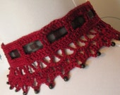 Made to Order Fine Lace Crochet Burgundy Beaded Gothic Vampire Victorian Noir Burlesque Steampunk Choker with Black Ribbon Tie