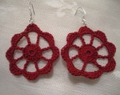 Sale Cardinal Red Cotton Crochet Circle Earrings with Sterling Silver Ear Wires