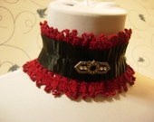 Scarlet Red Crochet Steampunk Victorian Vampire  Gothic Choker with Black Ribbon Metal Pin and MetalClosing
