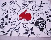 Hand Drawn Black and Ivory with Scarlet Red Rabbit Flower Floral Gothic Victorian Noir Steampunk Art Deco Art Card--original artwork
