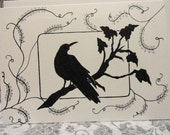 Black Raven Crow Blackbird Ivory Gothic Victorian Noir Steampunk Mourning Wiccan Midnight original artwork