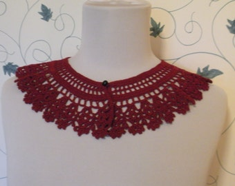 Burgundy Lace Collar Steampunk Victorian Civil War Peter Pan Collar Lace Crochet