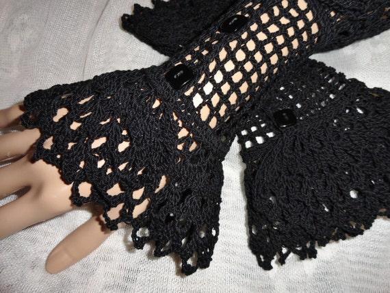 Fine Crochet Black Gothic Steampunk Victorian Mourning Noir NeoVictorian Vampire Halloween Lace Wrist Cuffs Vampire Wiccan