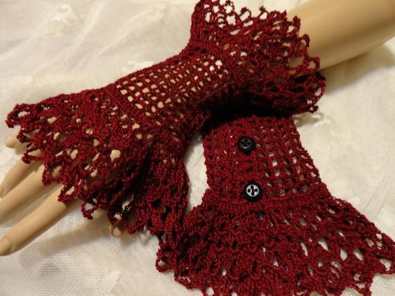 Burgundy Red Scarlet  Fine Crochet Gothic Vampire Steampunk Victorian Noir Wedding Mourning Cotton Wrist Cuffs