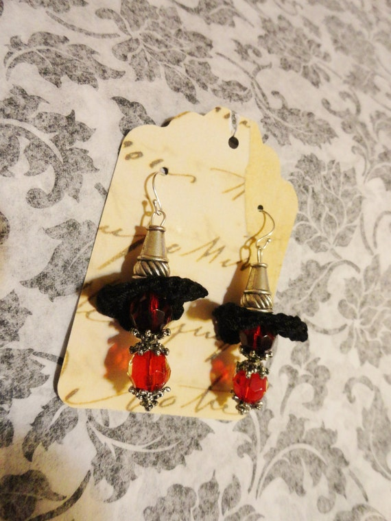 Black Red Scarlet Silver Earrings Crochet Flower Floral Victorian Noir Jewelry Womens