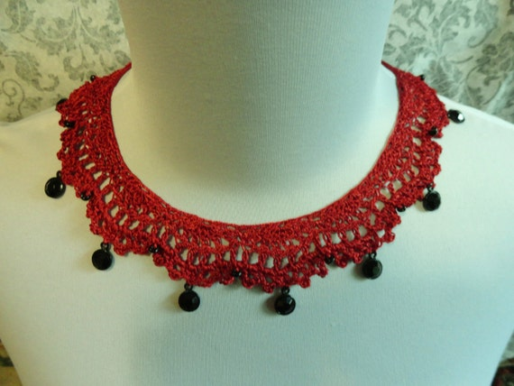 Red Scarlet Crochet Beaded Necklace Steampunk Gothic Victorian Noir Wiccan Vampire