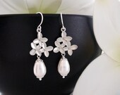 Cherry Blossom Jewelry, Wedding jewelry, White Pearl Drop Earrings, Silver Earrings, Birthday, Bridesmaids gifts