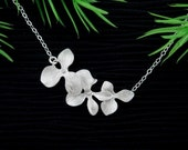 Silver Orchid necklace, Trio Orchid Flower Dainty STERLING SILVER Necklace, Flower girl, Birthday, Bridesmaid gifts, Wedding Jewelry