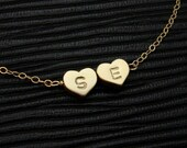 One Two Three Hearts Initial Necklace - Custom GOLD or Silver Monogram Charm Necklace - Bridesmaid Gift, Couple Necklace, Love Jewelry