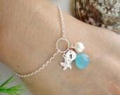 Silver Starfish Bracelet Birthstone Initial Jewelry Blue Monogram Silver ADJUSTABLE Bracelet, Bridesmaid gift, Mothers Jewelry