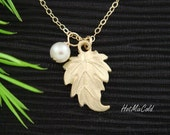 Ivy Leaf Necklace - GOLD or SILVER Leaf Jewelry - Simple Bridesmaids Necklace, Wedding Gifts Idea June Birthstone