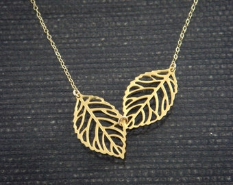 Leaf Necklace, Dainty Gold Fill Necklace, Mother's Jewelry, Bridesmaid gifts, Birthday, Wedding Jewelry