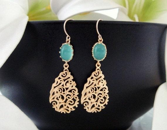 Gold Teardrop Filigree Earrings, Opal Blue Glass Gold fill Earrings, Mother Jewelry, Birthday, Bridesmaid gifts