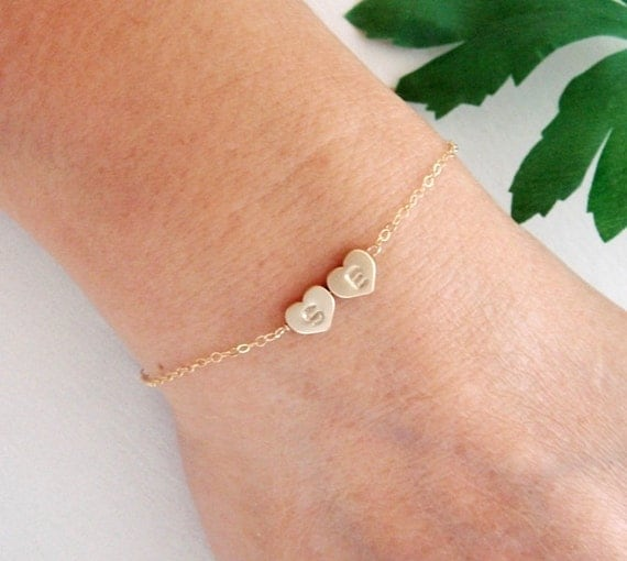 Initial Heart charm GOLD Fill Bracelet, Reversible Monogram Gold Bracelet, Bridesmaid Jewelry, Couple Bracelet, Sisters, Mother's day gift