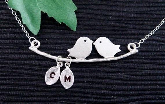 Kissing Love Birds Necklace, TWO Initial Monogram Silver Necklace, Mother's Jewelry, Couples Necklace, Family Tree Necklace, Bird Jewelry