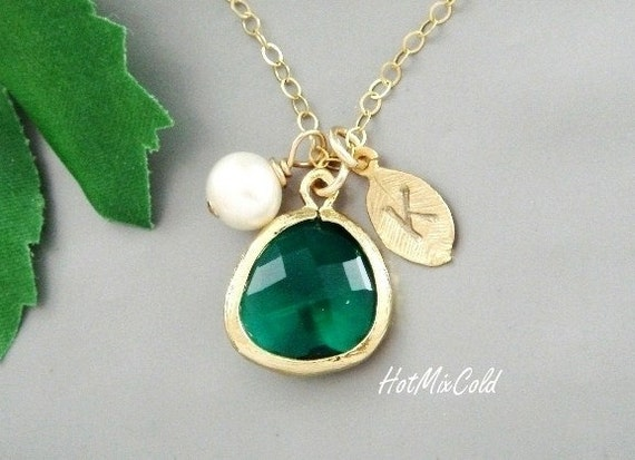 Personalized Initial Gold Fill Necklace, Emerald Green Drop Gold Bezel, Initial Leaf Charm, Pearl, Bridesmaid gifts, Wedding jewelry