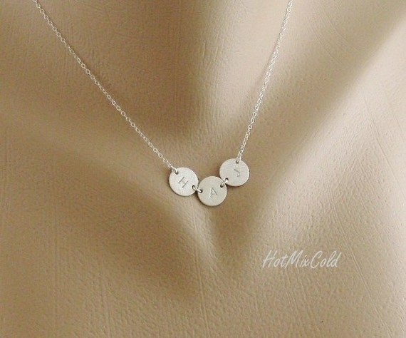Three Monogram Charm Necklace Tiny Initial Disc By
